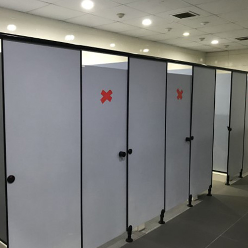 Community washrooms: Those that cannot be used have been demarcated