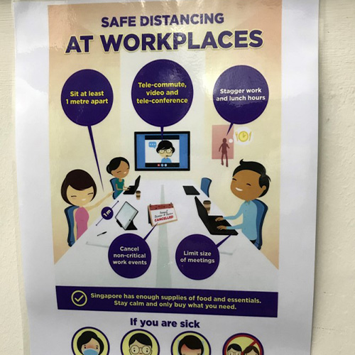 Posters highlighting safe distancing measures